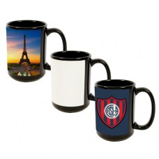 15 OZ BLACK  MUG W/PATCH - 1 CASE = 36