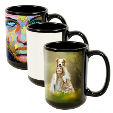 15 OZ. Ceramic Mug Black w/ Silk Screen Patch